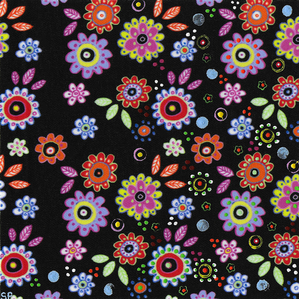 Felt Tip Flower Repeat 1 on Green Spiral Fabric