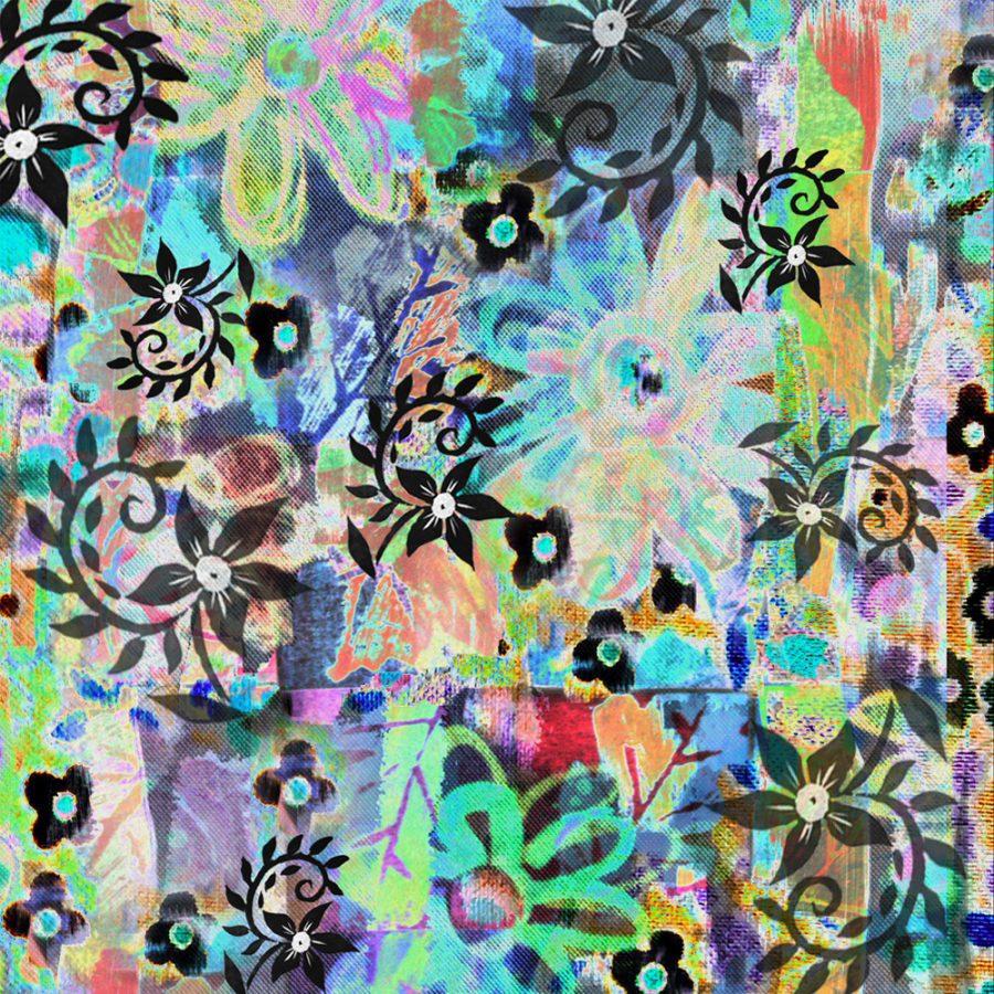 Black Linocut Flowers