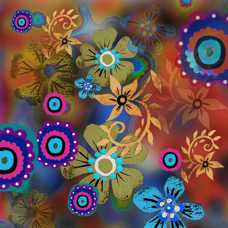 Amber Linocut Flowers