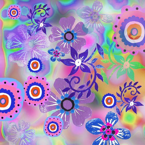 BlueLinocut Flowers