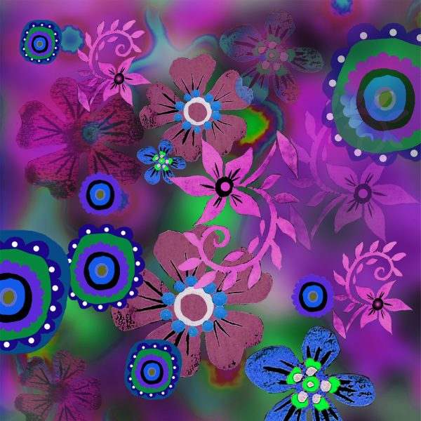 Magenta Linocut Flowers