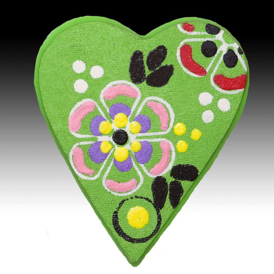 Green Brooch with Black Leaves