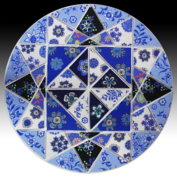 Suzi Pye large blue and white mosiac