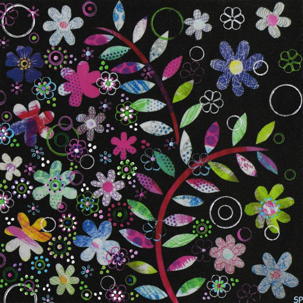 Suzi Pye leaves-flowers-on-black