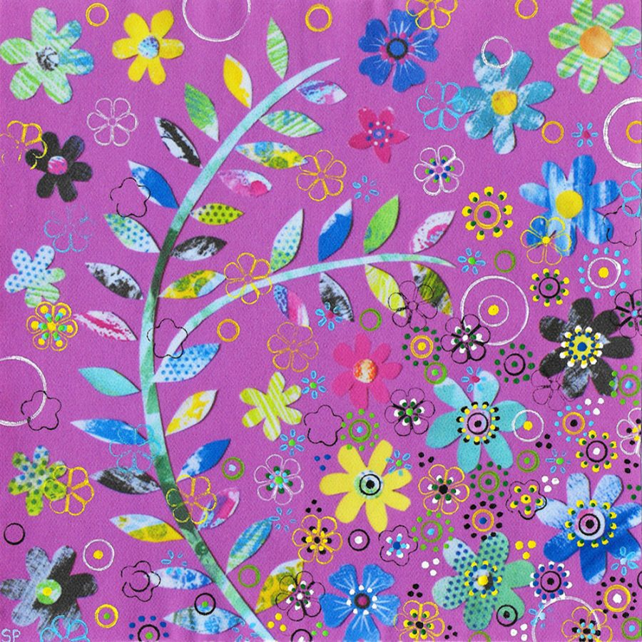Suzi Pye leaves-flowers-on-pink