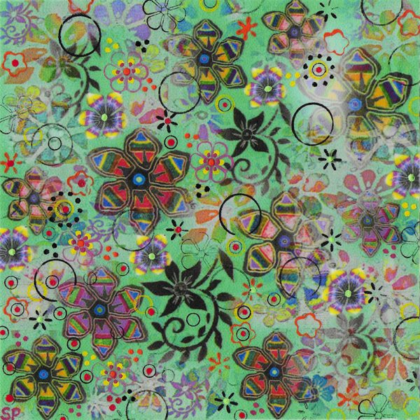 Suzi Pye Spiral flowers on apple-green