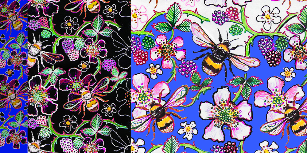 Blossom and Bumble Bee repeat pattern