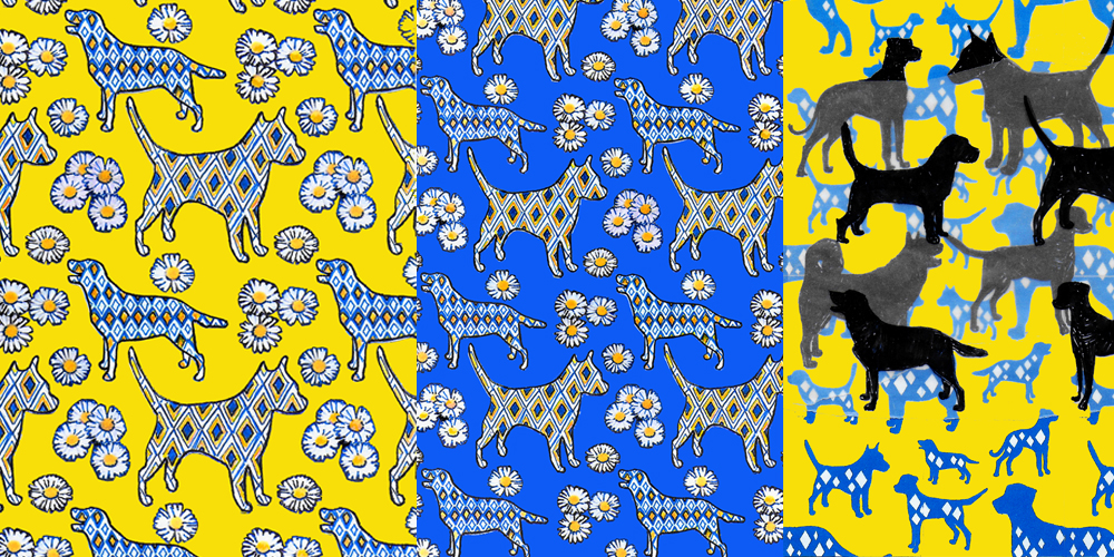 Diamond Dogs with Daisies repeat pattern